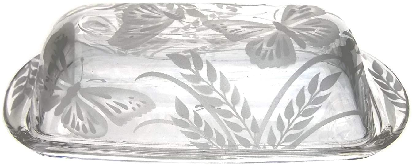 IncisoArt Hand Etched Permanently Sandblasted (Sand Carved) Butter Dish Serving Tray Handmade USA (Butterfly Grass)