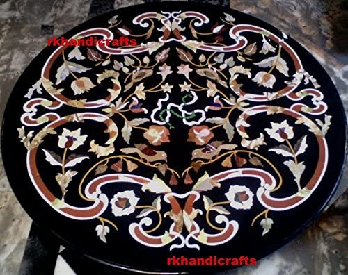 Rounded Black Marble Patio Table Top Unique Design Inlaid Work, Elegant Look Home Furniture, Size 42 Inches