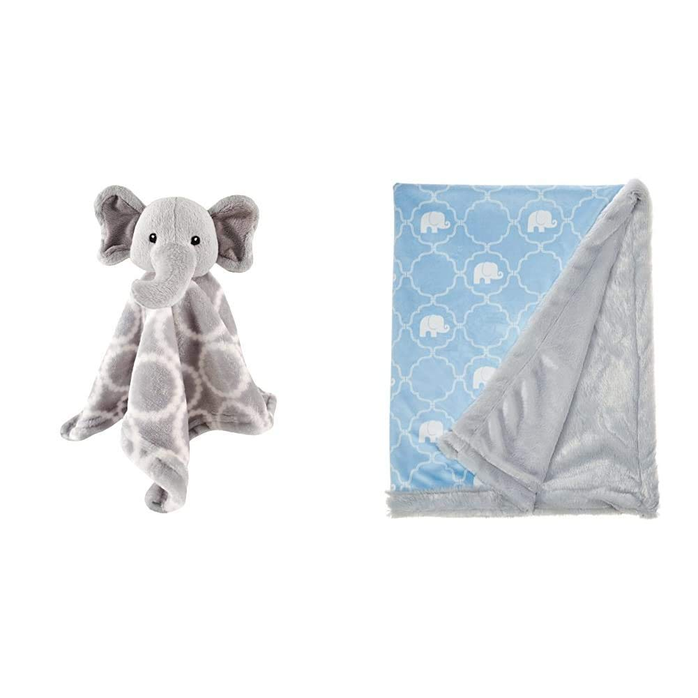 Hudson Baby Unisex Baby Animal Face Security Blanket, Elephant, One Size and Hudson Baby Unisex Baby Plush Blanket with Furry Binding and Back, Elephant, One Size