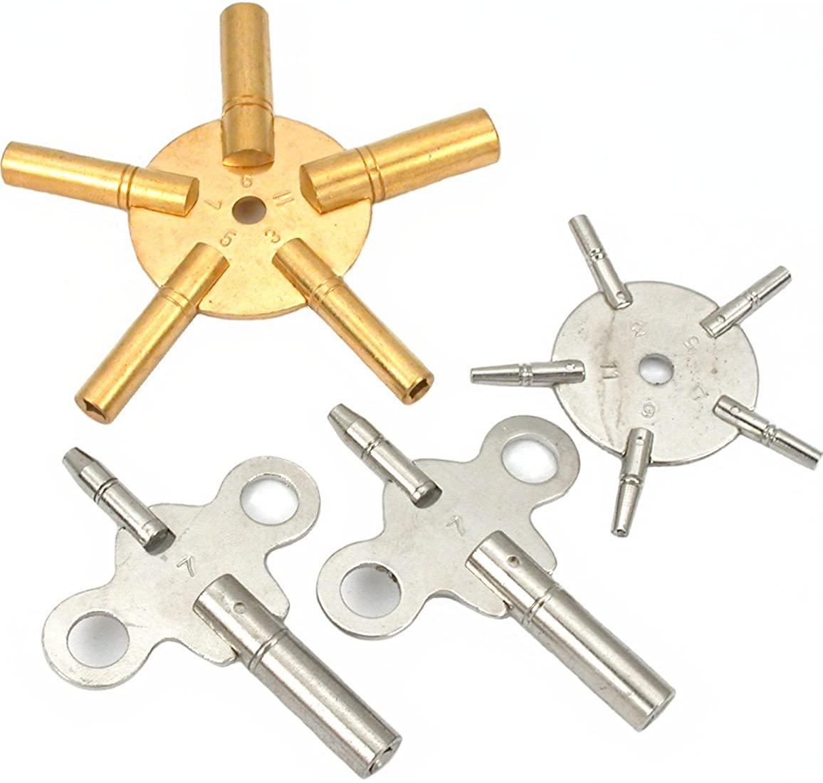 12 Clock Keys Two 5 Pronged Winding Tools Sz 3,5,7,9,11