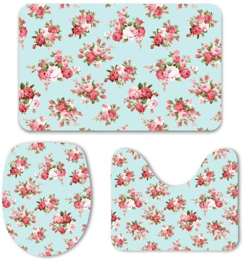 Yilooom 3 Pack Bath Mat Set, Shabby Chic Rose Absorbent Memory Foam Soft Shower Bath Rugs Contour Mat and Lid Cover,Non Slip Velvet Bathrug,Shower Toilet Bathmats Carpet