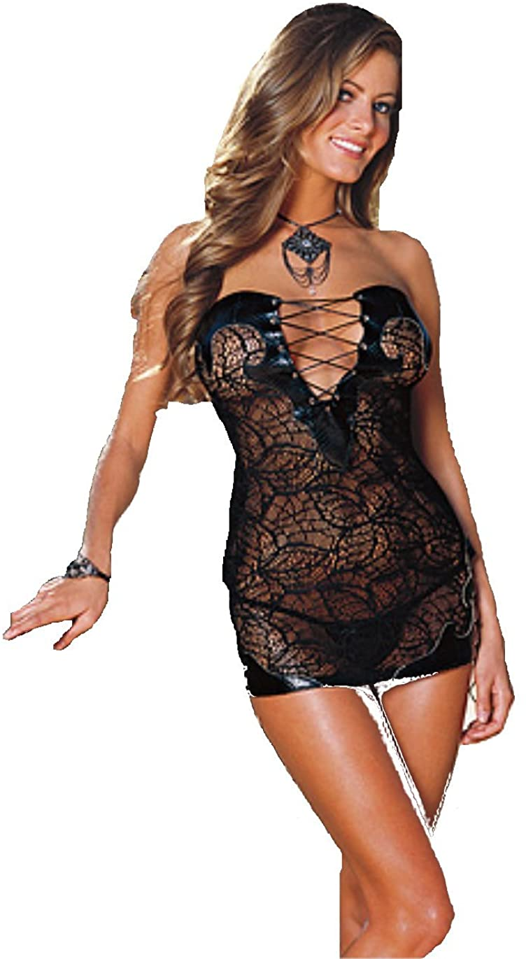Dreamgirl Stretch Lace Dress with Faux Snake Skin