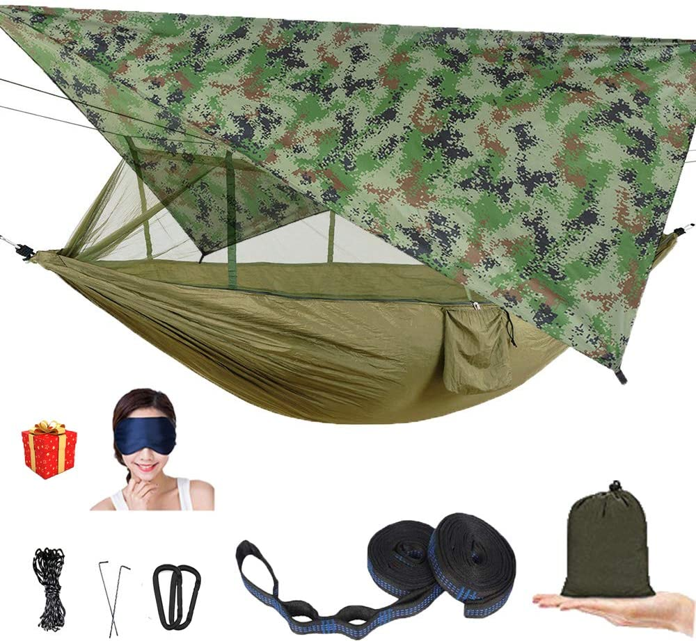 AEETT Camping Hammock with Mosquito Net and Rain Fly - Double Hammock Bug Net - Hammock Tent for Outdoor Hiking Campin Backpacking Travel (camo)