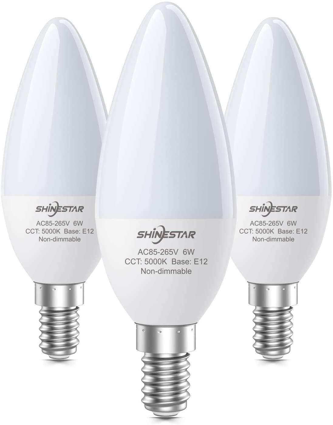 3-Pack E12 LED Ceiling Fan Light Bulbs 60W Equivalent, 5000K Daylight Candelabra Base Type B Light Bulb for Chandelier, Non-dimmable