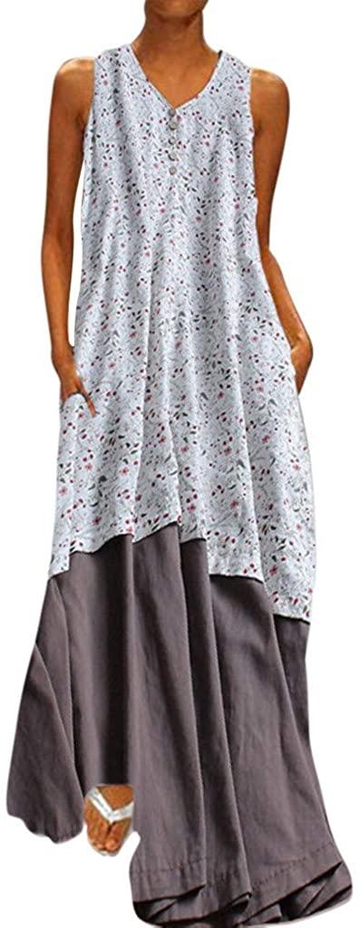 LENXH Printed Dress Ladies Sleeveless Dress Fashion Beach Dress Solid Color Dress Casual Dress