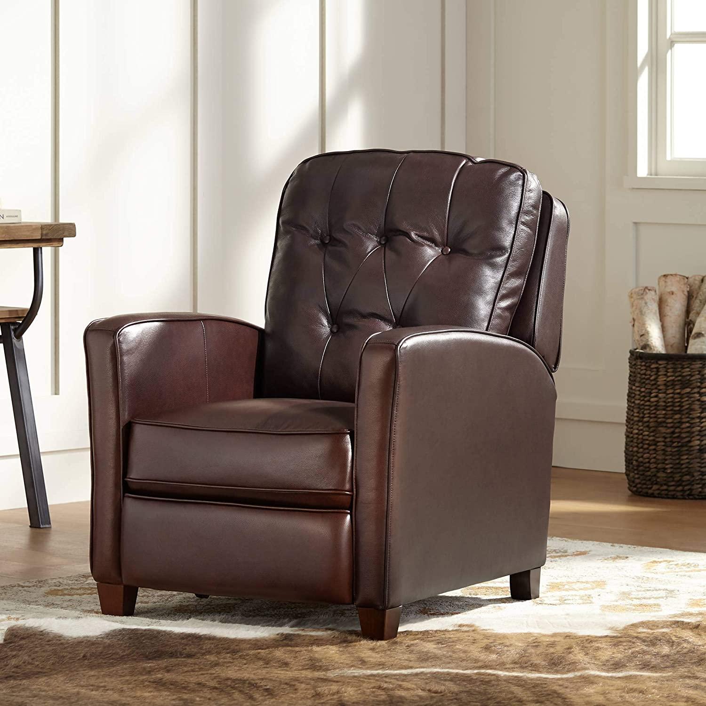 Livorno Chocolate Leather 3-Way Recliner Chair - Elm Lane