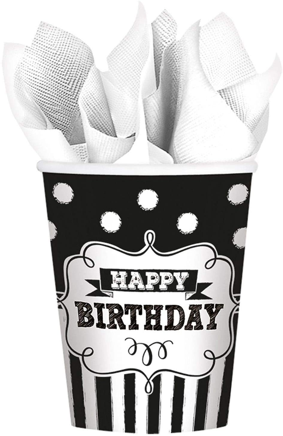 Amscan Disposable Chalkboard Birthday Paper cups, 9 oz, Black