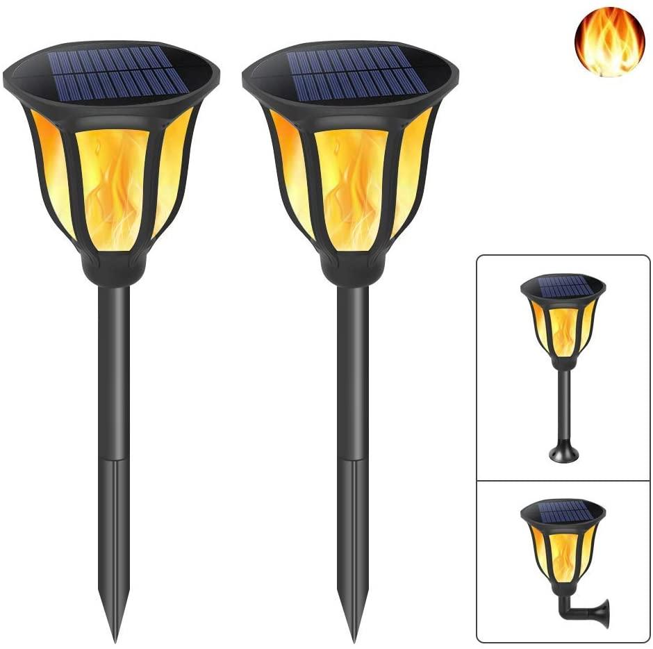 DOOK Solar Lights Outdoor Solar Torch Lights Flickering Dancing Flames Solar Torches Waterproof Landscape Lighting for Yard Garden Patio Pool Camping 2-Pack