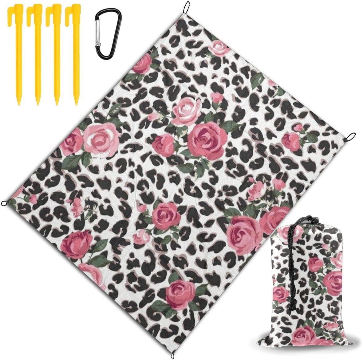OESGAT Beach Blanket Waterproof,Cute Pink Rose Mix Leopard Pattern Printing Travel Outdoor Picnic Mat Durable Sand Beach Mat,67