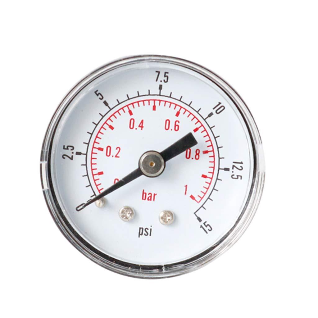 KUKALE Pressure Gauge, Pressure 40mm 1/8 BSPT Rear Back 15-300 PSI & Bar for Air Gas Wate Fuel for Test