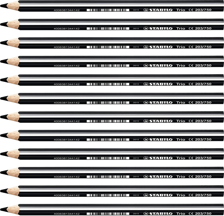 Colouring Pencil - STABILO Trio thick Box of 12 black