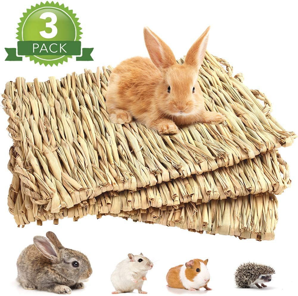 PrimePets 3Pack Rabbit Bunny Grass Mat, Woven Bed Mat for Small Animals, Natural Straw Bedding Nest Chew Toy Handmade Bed Play Toy for Guinea Pig Parrot Rabbit Bunny Hamster Rat