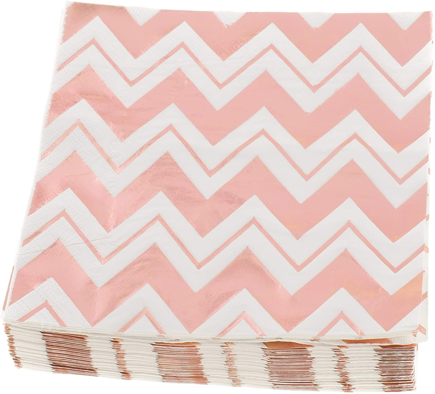 Ella Celebration 100 Pack Disposable Napkins with Rose Gold-Foil Chevron-Pattern, Tough and Durable 3-Ply, 6.5 x 6.5 inches Folded for Birthdays, Weddings (Rose Gold Chevron, 6.5