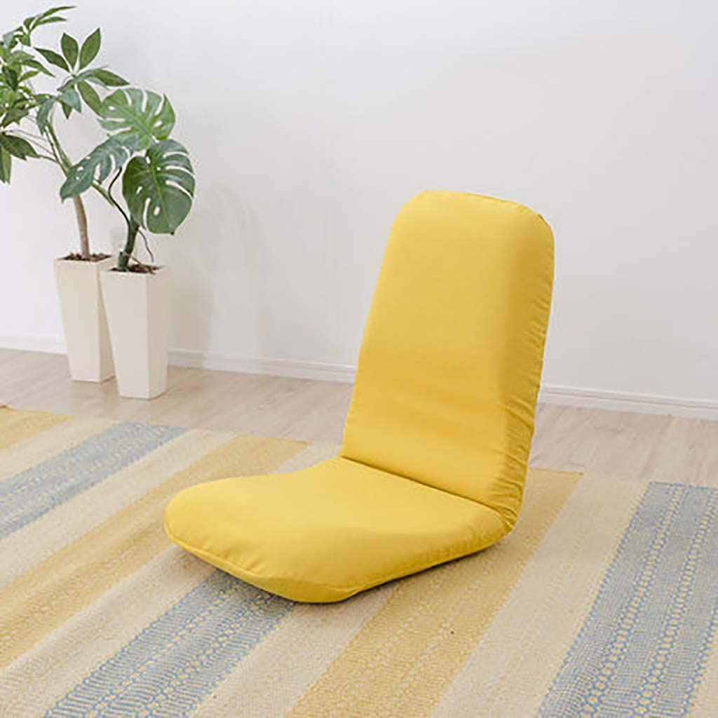 Folding Floor Chairjapanese Lightweight Tatami Bay Window Lounge Chair Meditation Chair Versatile Lazy Recliner for Adults-Yellow 42x118x13cm(17x46x5inch)