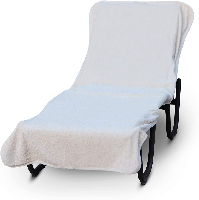 Luxury Hotel & Spa Towel Pool Chair Cover 100% Cotton, Soft Ring-Spun Cotton,Standard Size (Plain, White)