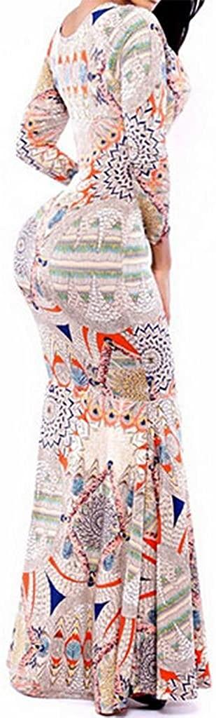 AS503anakla Fashion European Style and Elegant Crew Neck Long Sleeve Printed Tail Swing Dress Long Dress
