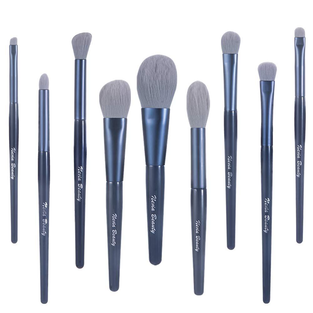 Neria Makeup Brushes 9PCS Foundation Powder Eyeshadow Brushes Cosmetic Tools Synthetic Fiber Bristles Professional Makeup Brushes Set