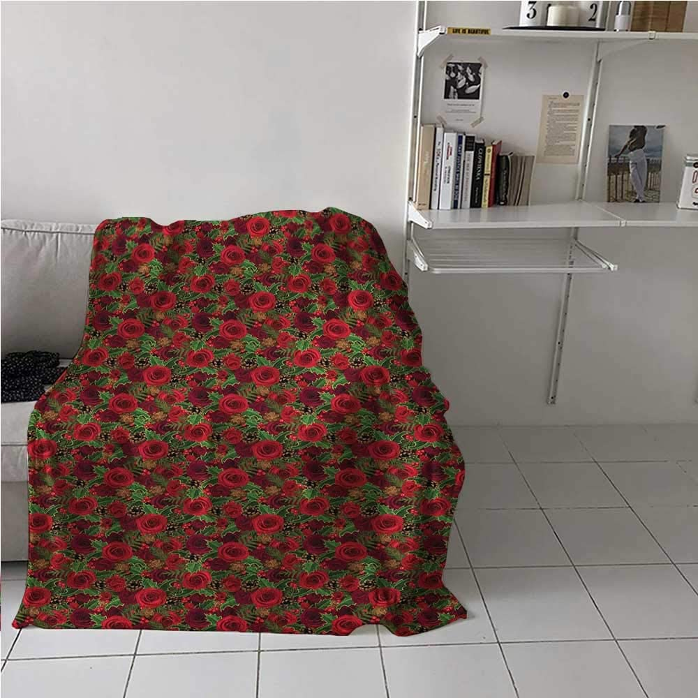 Breathable Blanket Romantic Vibrant Roses and Buds Holly Berries Pine Cones and Leaves Print Light Thermal Blanket for Kid Baby Toddler Teenager Red Brown Green 60 x 70 Inch