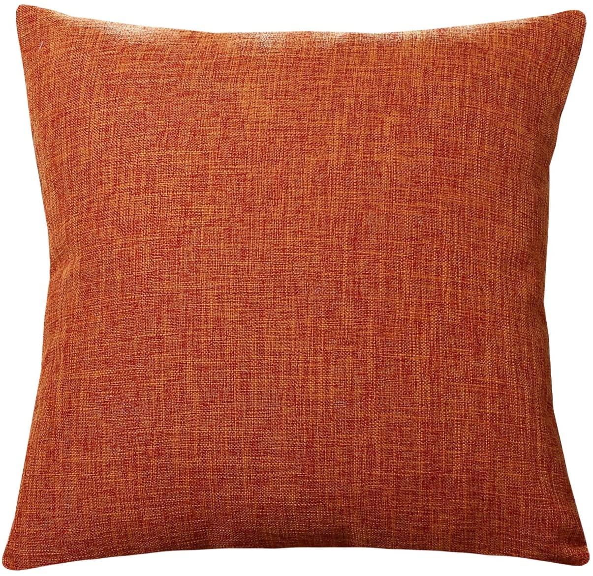 UArtlines Pillowcase Covers, Slubbed Linen Orange Pillow Case Decorative Cushion Cover Pillowcase for Sofa Pillow Cover
