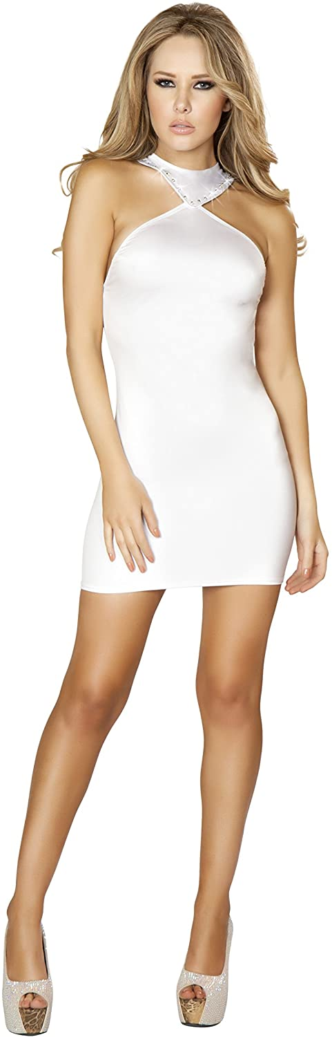Roma Women's Mini Dress with Open Back & Rhinestone Details