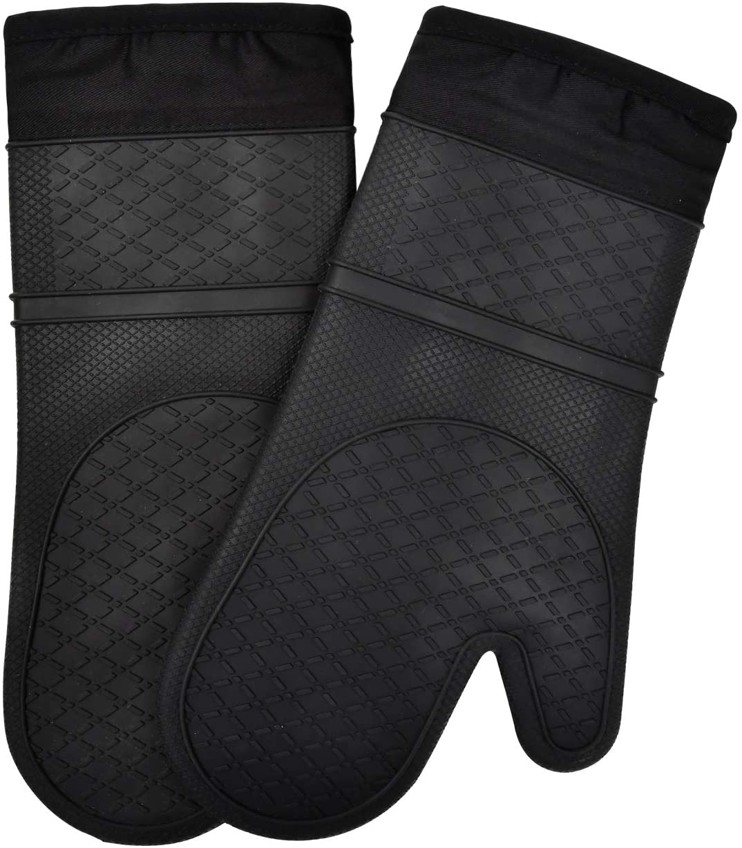 Techsea Long Professional Silicone Oven Mitts, Heat Resistatance Waterproof Oven Mitts with Quilted Liner for Cooking Baking BBQ, 1 Pair (Black)