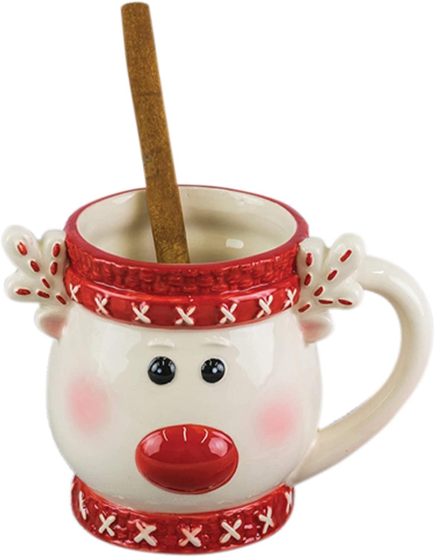 Rudolph Reindeer Festive Red and White 16 ounce Glossy Ceramic Christmas Mug