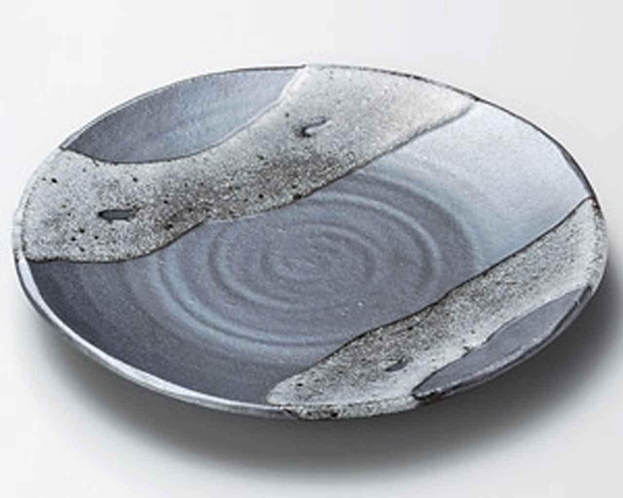 Tenmoku White 7.7inch Set of 5 Medium Plates Grey Ceramic Made in Japan