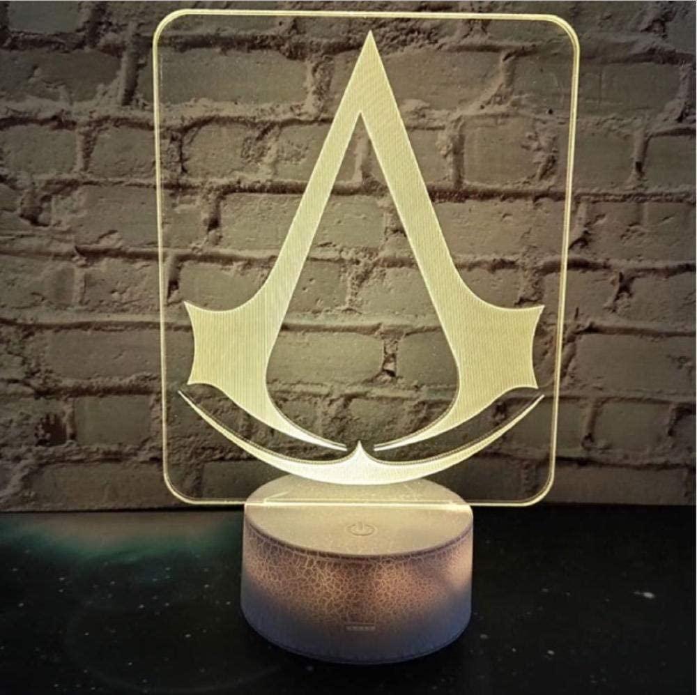 3D Led Night Light Lamp Game Assassins Creed Logo Nightlight Gift for Kids Bedroom Decor Color Changing Study Room