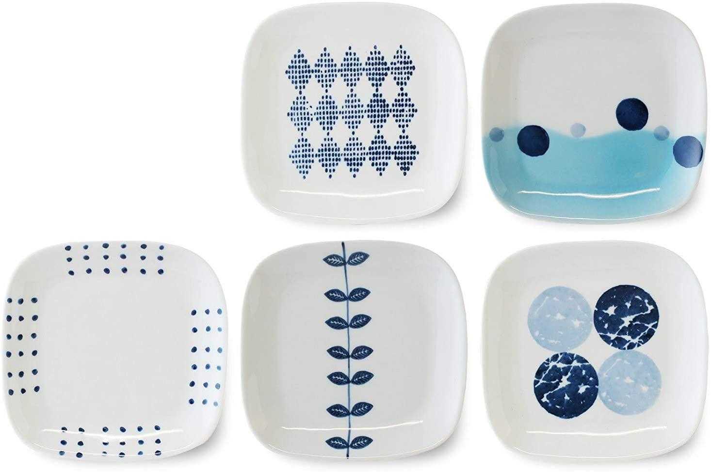CtoCJAPAN Ceramic Plate Set (5pcs) 5.7 inch Premium Quality Porcelain Made in Japan No.915430