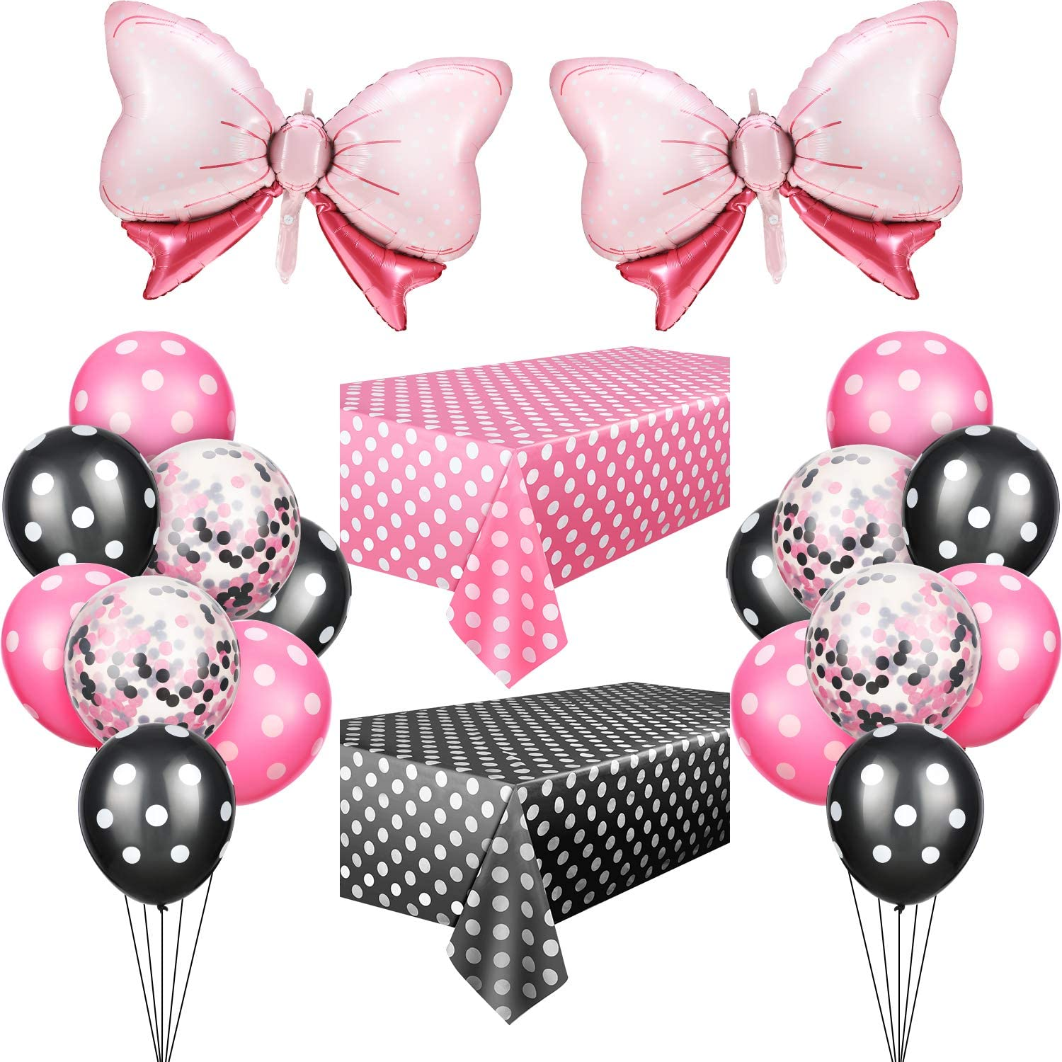 Mouse Party Decoration Polka Dot Mouse Decoration Polka Dot Tablecloths, Pink Bow Foil Balloons, Rose Red and Black Polka Dot Balloons, Mouse Balloons for Mouse Party Supplies