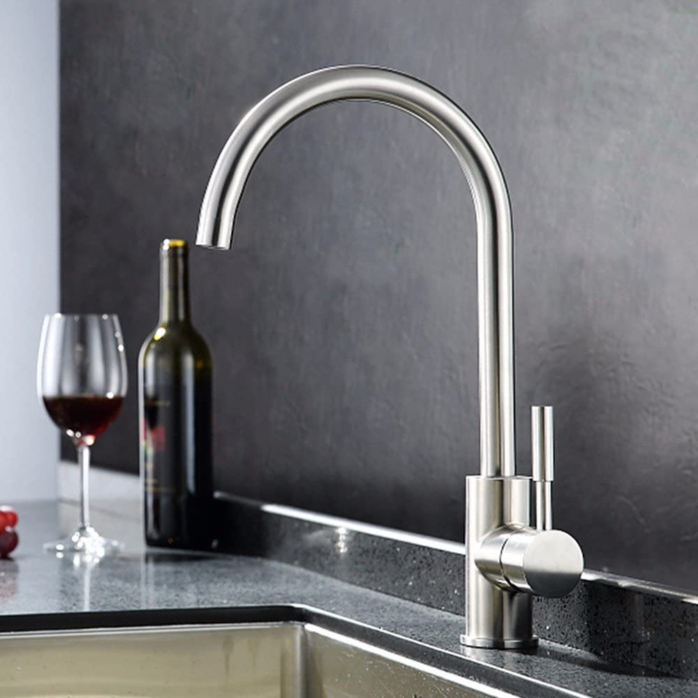 SUNQIAN-Stainless steel kitchen faucet, stainless steel kitchen, drawing water, pipe tap,B