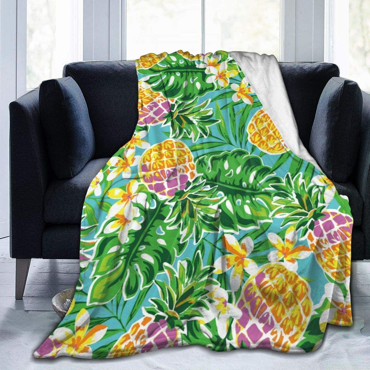 Micro Fleece Plush Soft Baby Blanket Pineapple Leaves Flowers Fluffy Warm Toddler Bed/Crib Blanket Lightweight Flannel Daycare Nap Kids Sleeping Tummy Time Throw Blanket Girls Boy Clearance Kid/Baby