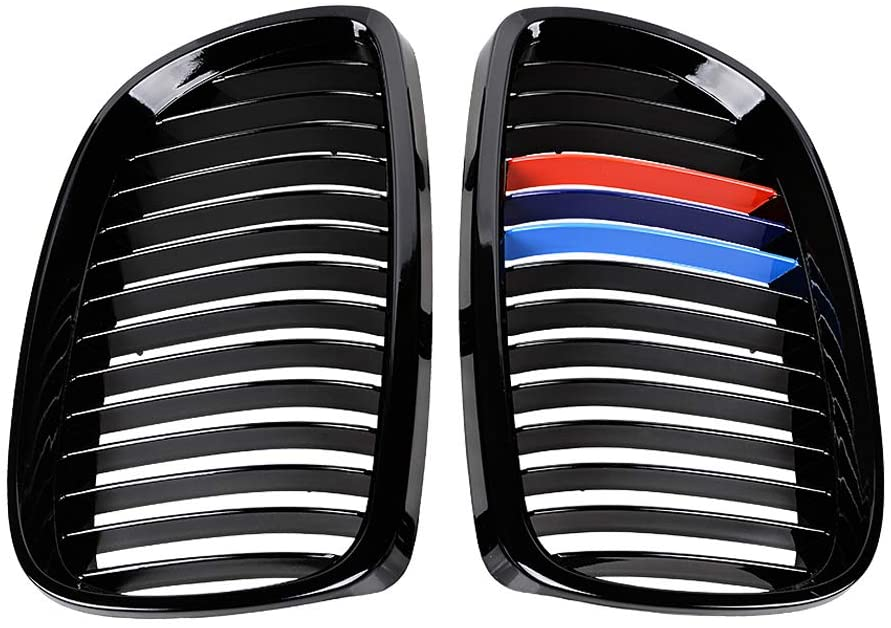 1 Pair Glossy Black M Color Front Upper Kidney Grill Compatible with 2008-2013 3-Series M3 (E92/ E93) 2007-2010 BMW Coupe E93 06-10 BMW E92 2D