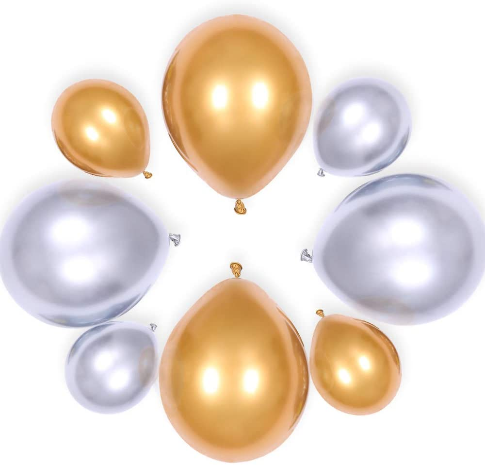 GIHOO Party Balloons 12inch/5inch 80pcs Gold Silver Metallic Chrome Balloon Shiny Thicken Balloon for Wedding Graduation Birthday Baby Shower Christmas Valentine's Day Party Supplies (Gold)