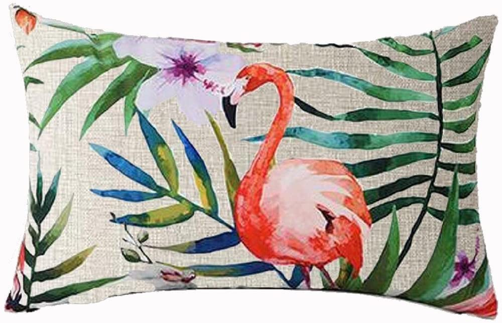 Queen's designer Hand-Painted Tropical Flowers and Birds Foliage Plant Cotton Linen Home Office Decorative Throw Waist Lumbar Pillow Case Cushion Cover Rectangle 12 X 20 Inches