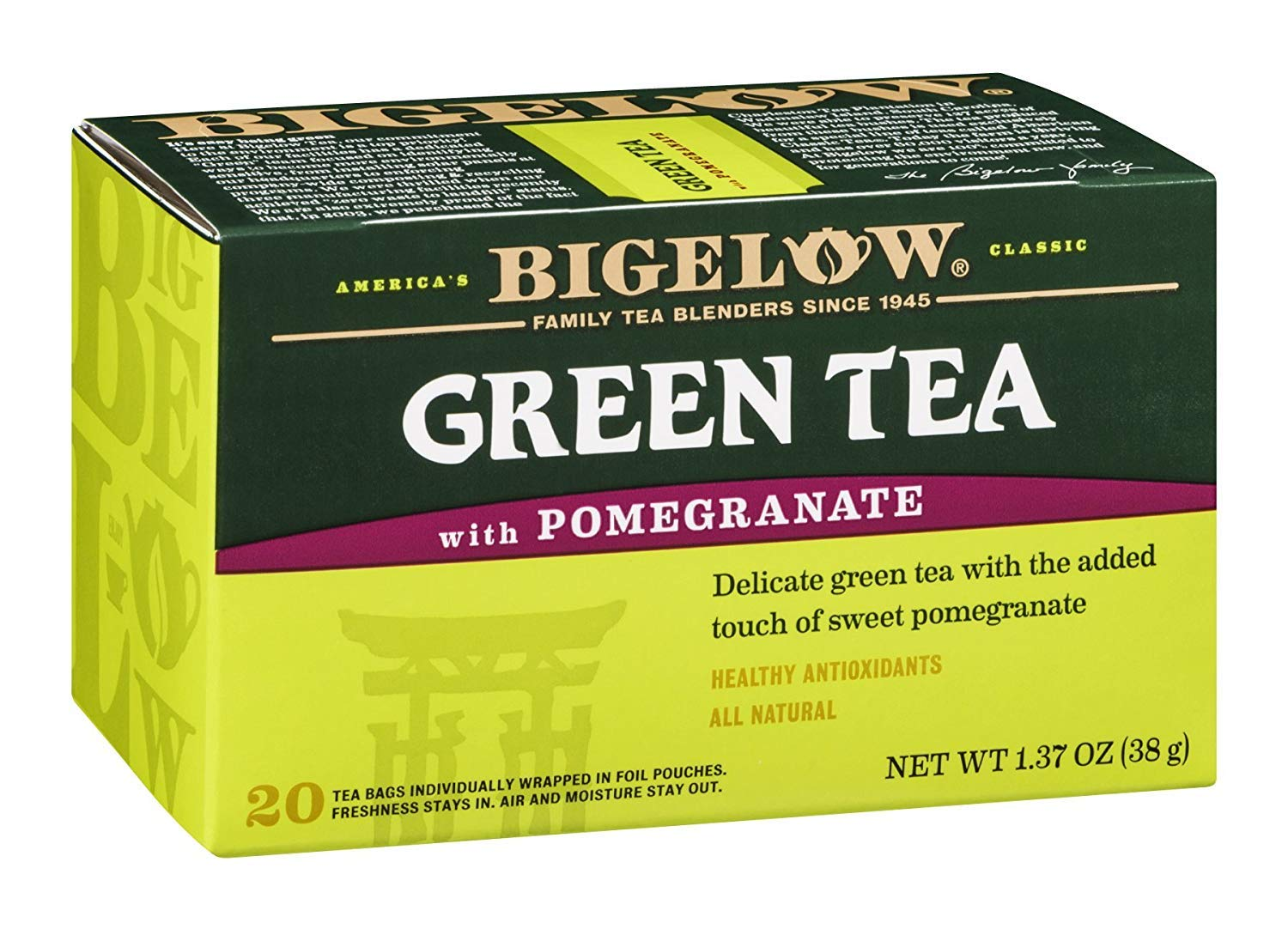 Bigelow Green Tea With Pomegranate 20 BAG (Pack of 12)