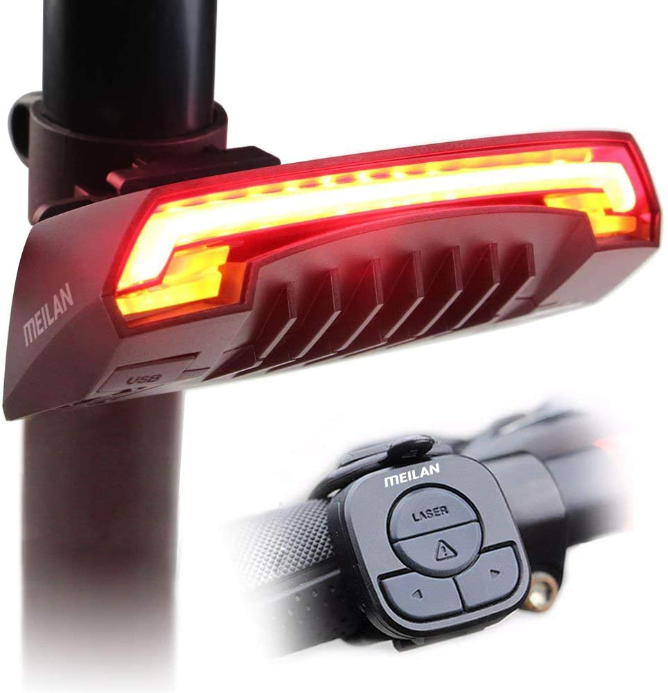 MEILAN X5 Wireless Remote Control Smart Bike TailLight Rear Light Automatic Brake Light with Turn Signal Light USB Rechargeable Safety Flashing Light Fits on Any Road Bicycle