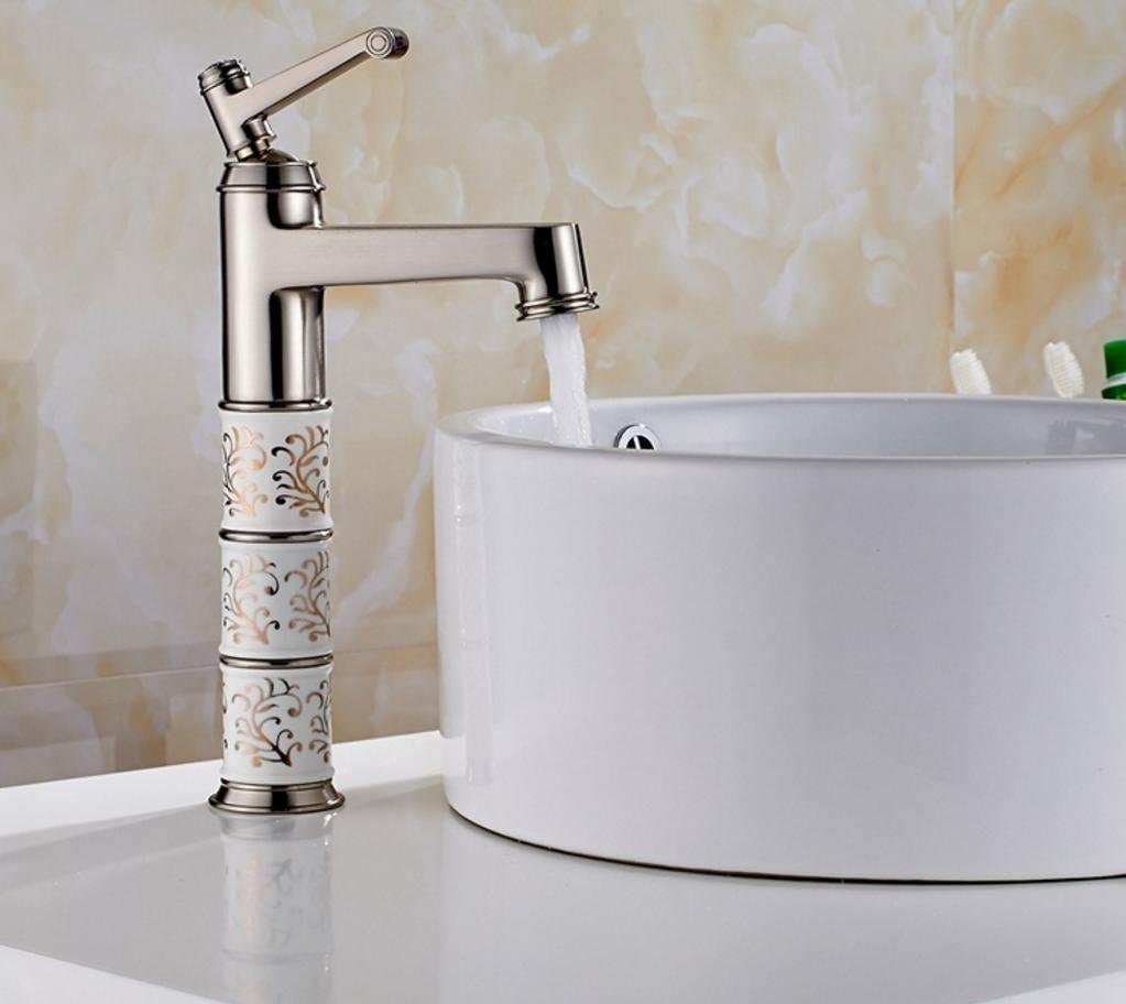 XIE High-grade basin basin basin faucet copper-nickel brushed ceramic bathroom basin faucet plus three hot and cold mixed water faucet