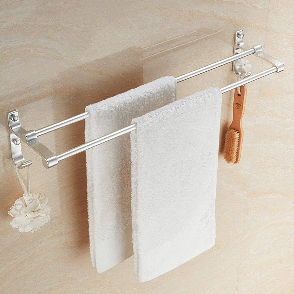Bathroom Towel Rails Shower Bars Organization Wall Mounted Bath Double Towel Holder with Screws HuiZwj-0812 (Size : 500mm)