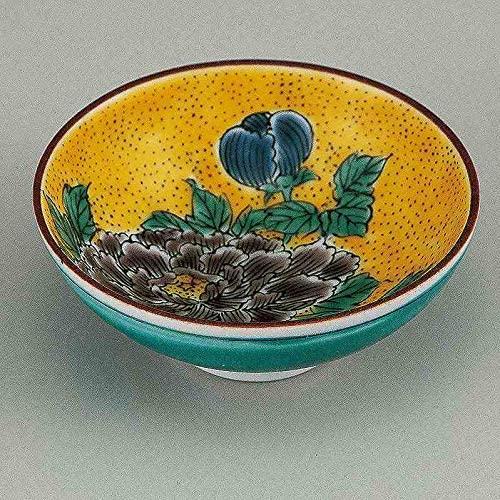 Guinomi sake cup. Yoshidaya style peony.Japanese porcelain Kutani ware. Tableware. ktn-k6-1142