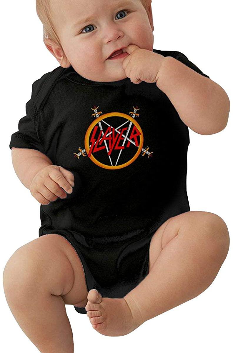 MaMing Slayer Band Unisex Baby Leotard Cute Short Sleeve T-Shirt Black