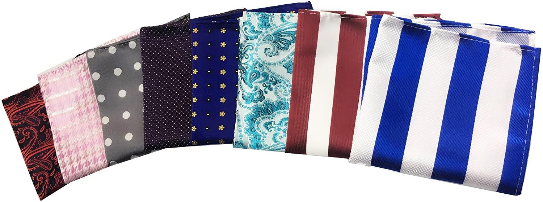MENDENG Mens 8 Pack Stripe Paisley Dot Assorted Pocket Square Silk Handkerchief
