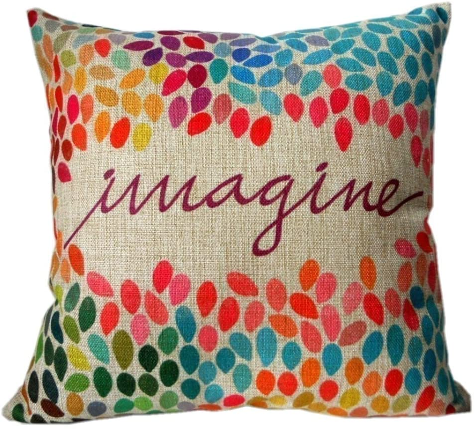 decorbox Cotton Linen Square Decor Throw Pillow Case Cushion Cover Colorful Imagine 18 X 18 Inch