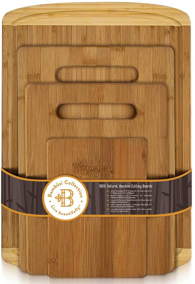 Bambusi Organic Bamboo Cutting Board Set - 4 Piece Kitchen Chopping Boards with Juice Groove for Meat, Cheese and Vegetables - Wooden Carving Serving Tray