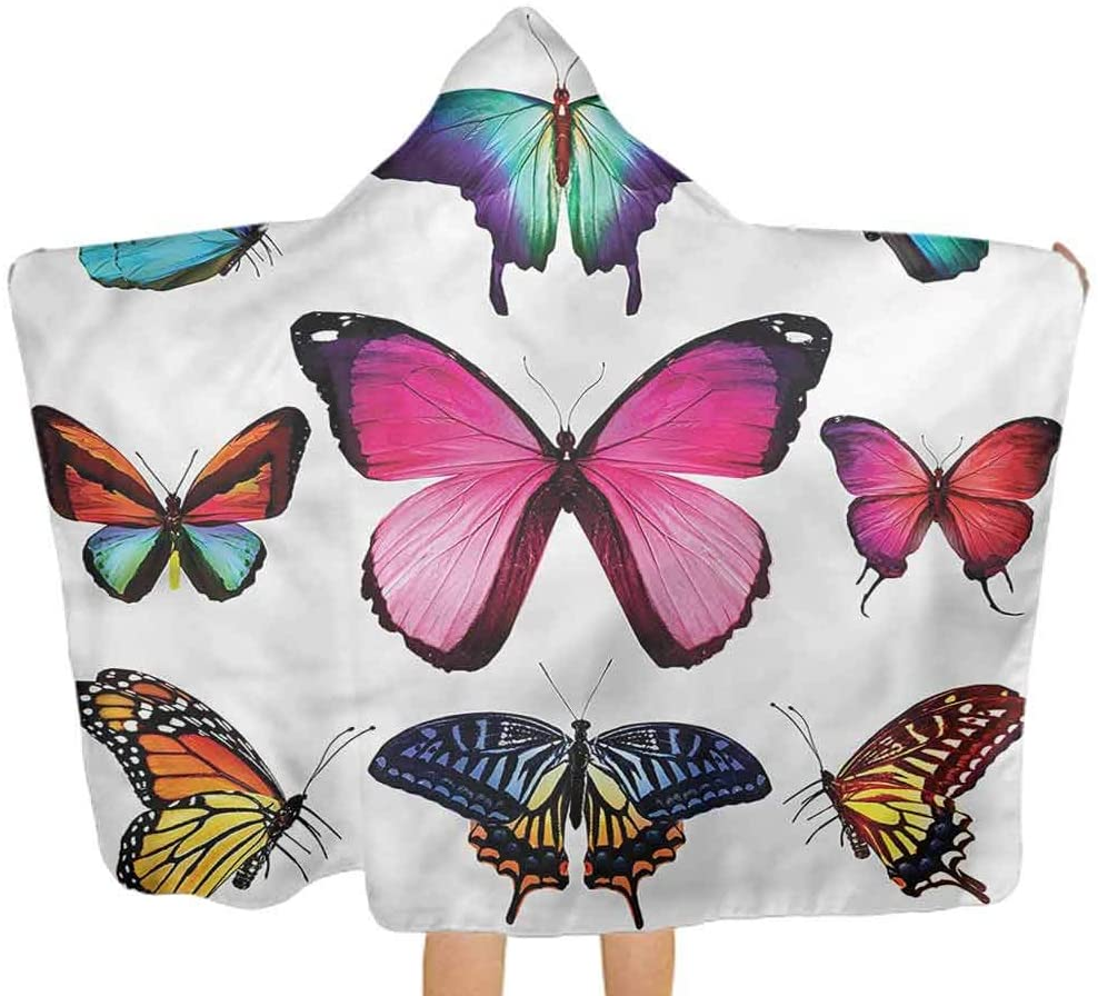 ThinkingPower Baby Bath Towels Butterfly, Various Sized Bugs Design Large Baby Bath Towel for Boys Kids Children Gift 51.5x31.8 Inch