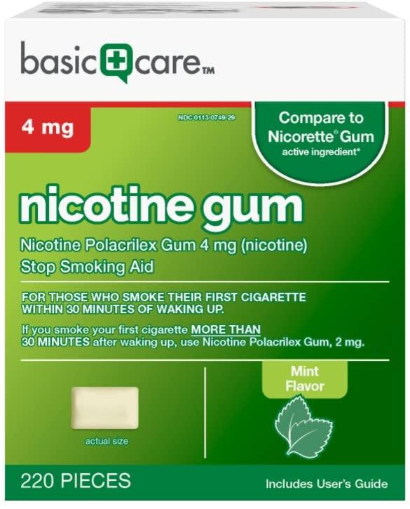 DHgate Basic Care Nicotine Polacrilex Gum, 4 mg (nicotine), Stop Smoking Aid, Mint Flavor, 220 Count