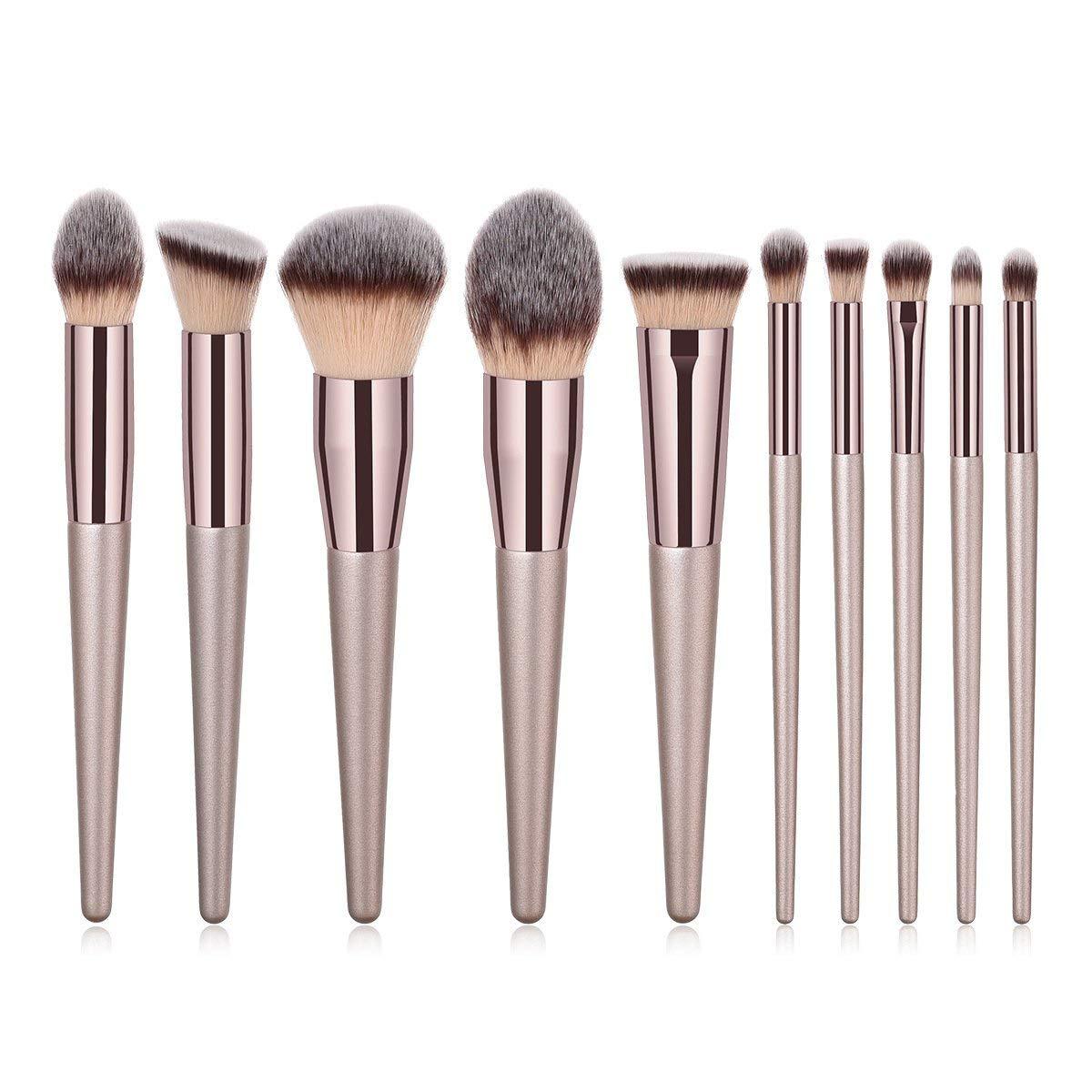 ILADIO Makeup Brush Sets - 10 PCS Wood Handle Soft Synthetic fiber hair Kabuki Powder Blush Liquid Eyeliner Eyeshadow Lip Eyebrow Brush (Champagne Gold)