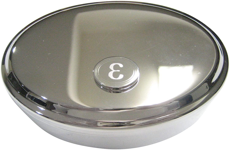 Kiola Designs Silver Toned Etched Oval Greek Letter Epsilon Oval Trinket Jewelry Box