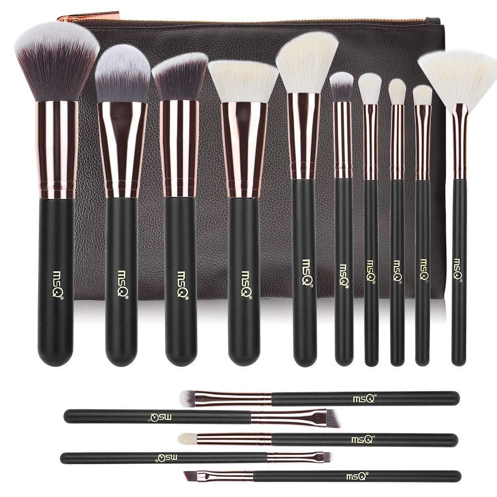 Makeup Brushes MSQ 15pcs Pro Rose Gold Makeup Brush Set with Bag & Soft Hair (Foundation Brush, Powder Brush, Eyeshadow Brush) Best for Gifts - Rose Gold