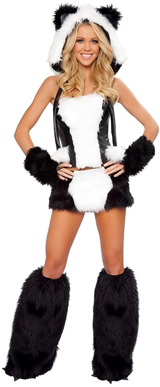 PINSE White and Black Panda Bear Corset Halloween Costume